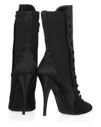 Balmain Black Silk Button-up Boots