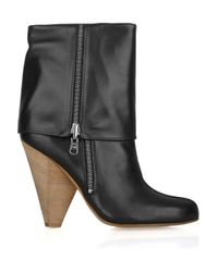 Belle By Sigerson Morrison Black Fold-over Leather Boots