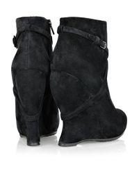Bottega Veneta Black Crossover-Strap Suede Wedge Boots