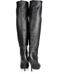 DKNY Black Gwen Fold-over Leather Boots