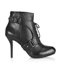 DKNY Black Sylvana Lace-up Leather Boots