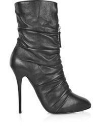 Giuseppe Zanotti Black Ruched Leather Boots