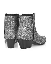 Giuseppe Zanotti Metallic Glitter Leather Ankle Boots