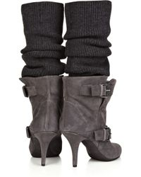 Givenchy Gray Stocking-detailed Suede Ankle Boots
