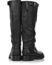 Jil Sander Black Buckle-detailed Flat Leather Boots