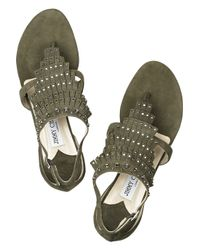 Jimmy Choo Green Eureka Studded Suede Sandals