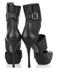 Lanvin Black Cutout Leather Ankle Boots