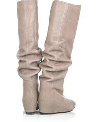 Lanvin | Gray Knee-high Leather Boots | Lyst