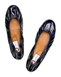 Lanvin Blue Patent-leather Ballerina Flats