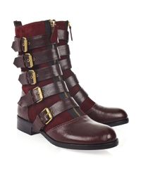 Marc By Marc Jacobs Purple Buckle Leather Boots