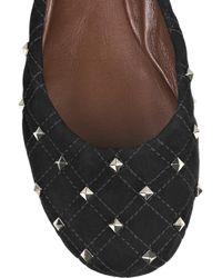 Marc Jacobs Black Studded Suede Ballerina Flats