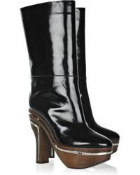 Marni | Black Glossed-leather Platform Knee Boots | Lyst