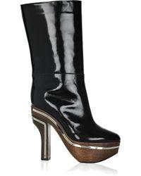 Marni Black Glossed-leather Platform Knee Boots