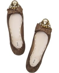 Miu Miu | Brown Crystal-embellished Leather Flats | Lyst