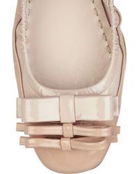Miu Miu Natural Patent-leather Ballerina Flats