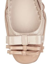 Miu Miu - Natural Patent-leather Ballerina Flats - Lyst