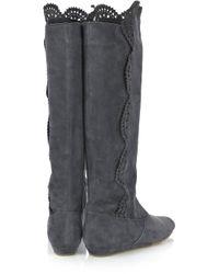 Oscar de la Renta Gray Laser-cut Suede Boots