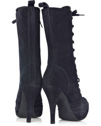 Pedro Garcia Blue Cher Lace-up Suede Boots