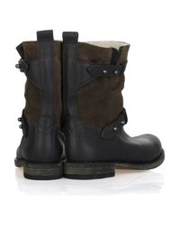 Rag & Bone Brown Moto Leather and Suede Boot