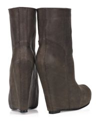 Rick Owens Brown Leather Wedge Boots