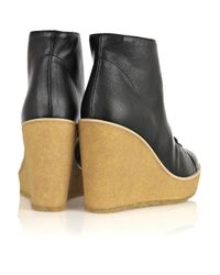 Stella McCartney Black Faux-leather Wedge Ankle Boots