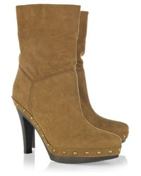 Stella McCartney Natural Crow Faux-suede Studded Boots