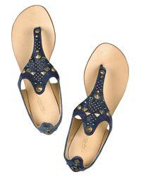 Tapeet - Blue Jeweled Denim Thong Sandals - Lyst