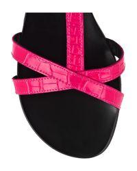 Tapeet Pink Croc-print Leather Sandals