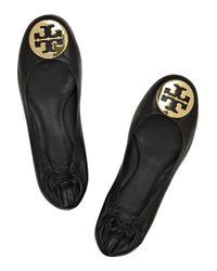 Tory Burch | Black Reva Leather Ballerina Flats | Lyst