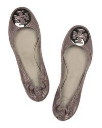 Tory Burch Brown Reva Leather Ballerina Flats