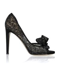 Valentino Black Bow-embellished Lace Leather Pumps