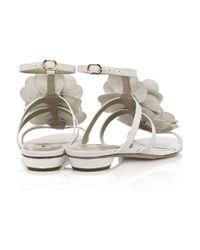 Valentino White Flower Leather Sandals