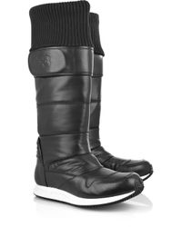 Y-3 Black Leather and Shell Snow Boots