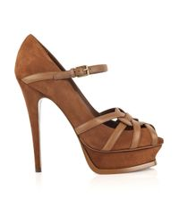 Saint Laurent Brown Tribute Suede Sandals