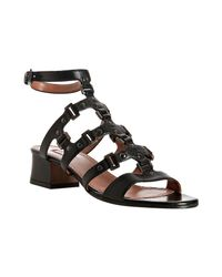 Alaïa | Black Studded Leather T-strap Block Heel Sandals | Lyst