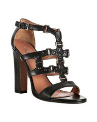 Alaïa | Black Studded Leather T-strap Sandals | Lyst