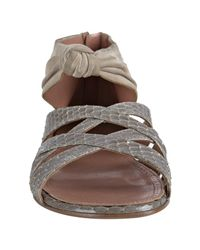 Alaïa | Gray Dove Grey Suede and Snakeskin Knot Sandals | Lyst