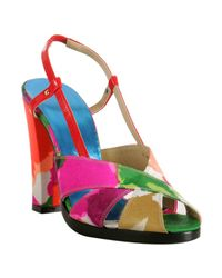 Balenciaga | Pink Satin Multicolor Floral Printed Sandals | Lyst