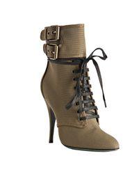 Balmain | Natural Khaki Canvas Double Buckle Lace-up Boots | Lyst