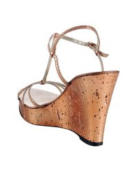 Bettye Muller - Pink Rose Metallic Leather Gimlet Wedge Sandals - Lyst