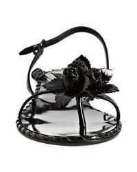 Bottega Veneta   Black Patent Rosette Slingback Flat Sandals   Lyst