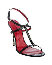 Cesare Paciotti | Black Snake Print T-strap Sandals | Lyst