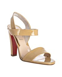 Christian Louboutin | Natural Beige Patent Leather Etrier 100 Sandals | Lyst