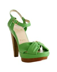 Christian Louboutin | Bright Green Leather Talitha Platform Sandals | Lyst