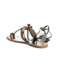 Christian Louboutin | Brown Tan Leather and Pony Hair Holalita Thong Sandals | Lyst