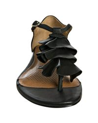 Corso Como | Black Leather Felony Ruffle Thong Sandals | Lyst
