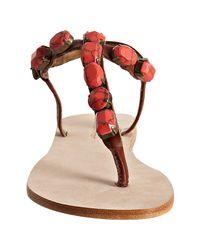 Twelfth Street Cynthia Vincent | Pink Coral Stone Jewel Thong Flat Sandals | Lyst