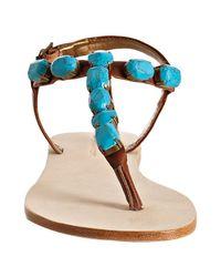 Twelfth Street Cynthia Vincent - Blue Turquoise Stone Jewel Thong Flat Sandals - Lyst