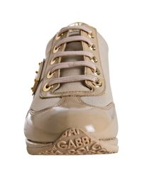 Dolce & Gabbana | Natural Beige Patent Leather Lace-up Wedge Sneakers | Lyst