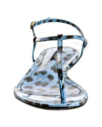 Dolce & Gabbana - Light Blue Leopard Print Patent Thong Sandals - Lyst
